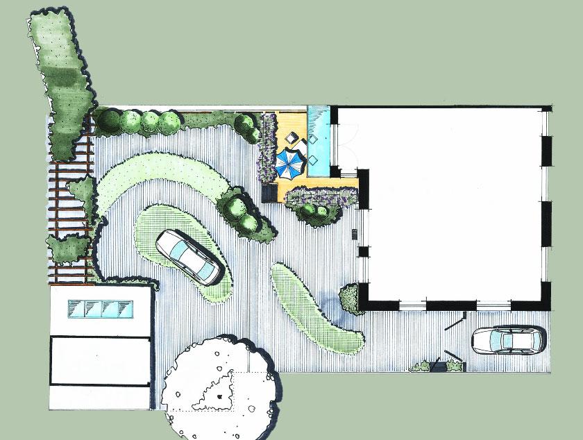 Innenhof Gestaltung Grundrissplan